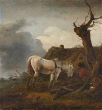 rastender bauer und sein pferd by philips wouwerman