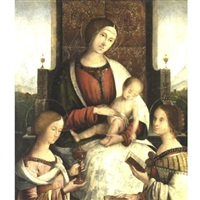 madonna and child with saints mary magdalene and catherine of alexandria by bernardino di bosio zaganelli