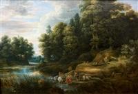 paysage animé de figures en bord de rivière by lucas van uden