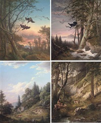 woodcock in the forest at dusk (+ 3 others; 4 works) by vinzenz kreuzer