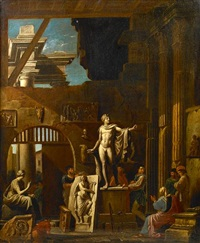 a sculptor with patrons amongst classical ruins by alessandro salucci