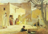 scène du village dans le sud-algérien by louis joseph anthonissen