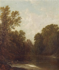on the river by john william casilear