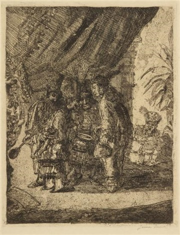 iston, pouffamatus, cracozie and transmouff, famous persian physicians examining the stools of king darius after the battle of arbela by james ensor