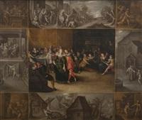 le retour du fils prodigue, entouré des scènes de sa vie en by louis de caullery