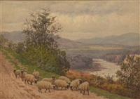 panoramic landscape with sheep by william baptiste baird