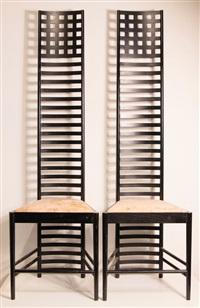 paar hillhouse chairs 1, mod. 292 (pair) by charles rennie mackintosh