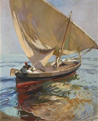 camino de la pesca, valencia (setting out to sea, valencia) by joaquin sorolla y bastida