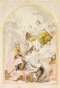 sant'orsola, la beata angela e sant'agostino che dà la regola a una religiosa by laurent pécheux