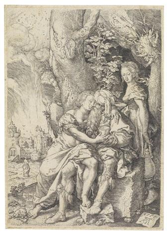 loth und seine töchter by heinrich aldegrever