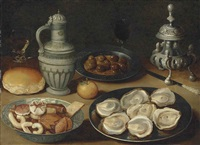 sweetmeats in a wanli kraak porcelain bowl, oysters and olives on pewter platters, a roll, an orange, a stoneware jug, a roemer and other vessels... by osias beert the elder