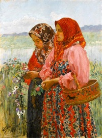 two young girls gathering flowers by ivan semionovich kulikov