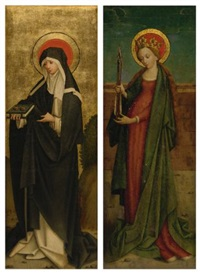 saint odilia of alsace; saint ursula (pair) by hans holbein the elder