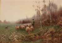 early dawn (shepherd with flock) by sidney pike