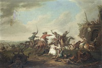 two cavalry skirmishes (pair) by august querfurt