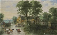 a river landscape with cottages and cattle, a city, possibly antwerp, beyond by joos de momper the younger and jan brueghel the younger
