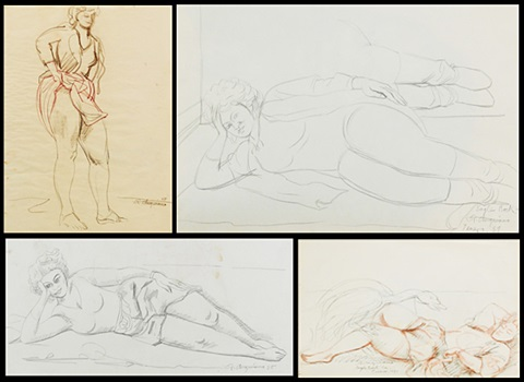 leda the swan reclining woman standing woman lying woman 4 works by raúl anguiano