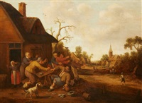 a village scene with peasants fighting by joost cornelisz droochsloot