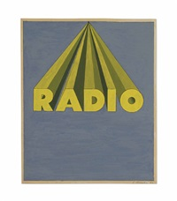 radio on royal blue by ed ruscha