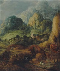 cavaliers abreuvant leurs montures et village dans la montagne by joos de momper the younger and jan brueghel the younger