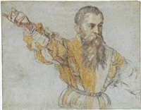 a bearded man wearing a quartered doublet, gesturing to the left by giuseppe (salviati) porta