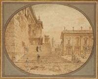 les escaliers et le palais du capitole à rome by hubert robert