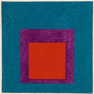 study for homage to the square red and violet in blue by josef albers