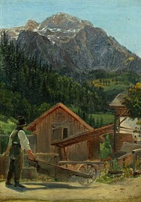 landscape probably from the alps by janus andreas barthotin la cour
