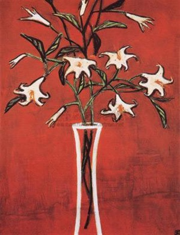红色背景的百合花 lilies in red background by sanyu