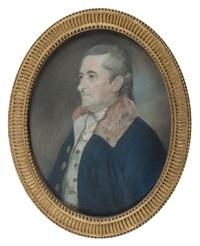 portrait d'homme en buste à la lavallière blanche, portant un redingote bleu marine by henri françois riesener