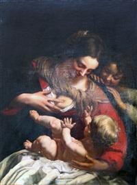 la vierge à l'enfant avec le petit saint jean - baptiste by simon vouet