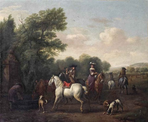 a hunting party by gerrit adriaensz berckheyde