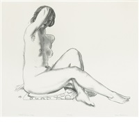 nude study, girl on a flowered cushion by george wesley bellows