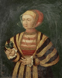 portrait of a lady, three-quarter-length, in a gold and burgundy dress, holding a bird by franz wolfgang rohrich