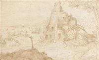paysage au château donnant sur un port by paul bril