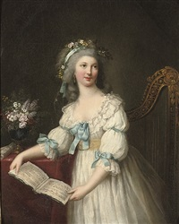 portrait of marie-françoise dumesnil (1713-1803), three-quarter-length, in a white dress with blue ribbons and a yellow sash, flowers in her hair, a musical score in her hands, by marie-victoire lemoine