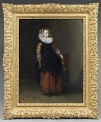portrait de jeune femme tenant un gant by dirck dircksz van santvoort