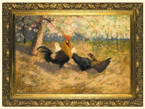 cock and chickens by stanislaw bohusz-siestrzencewicz