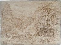 grand paysage italianisant, vallonné et boisé, avec berger et son troupeau de chèvres by titian (tiziano vecelli)