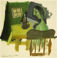 interior with figure in a chair by michael kane