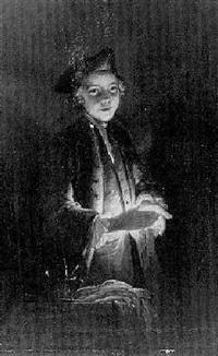 jeune homme éclairé à la bougie by louis aubert