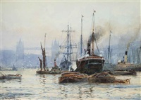 tower bridge, london and london bridge (a pair) by frederick william scarborough