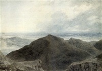 a figure in an extensive mountainous landscape by john robert cozens