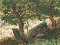 oak forest with rocks by eugen felix prosper bracht