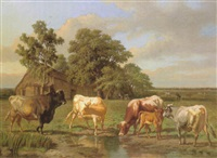 cattle drinking at a pool by charles coumont