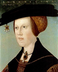 a portrait of anne of hungary at the age of 20, wearing a red and gilt-embroidered dress with a black cape, together with a black and gold headdress adorned with a piece of gold and pearl jewellery by hans maler