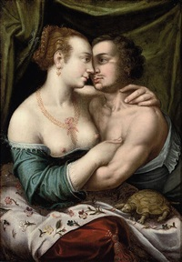 an amorous couple in an interior with a tortoise by joos van winghe