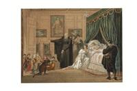 louise de marcillac visitant un hôpital et louise de marcillac sur son lit de mort avec saint vincent de paul à ses cotés (pair) by hippolyte lecomte