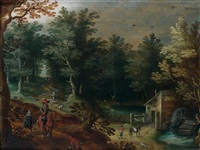 paysage au moulin animé de cavalier, chasseur et promeneurs by paul bril