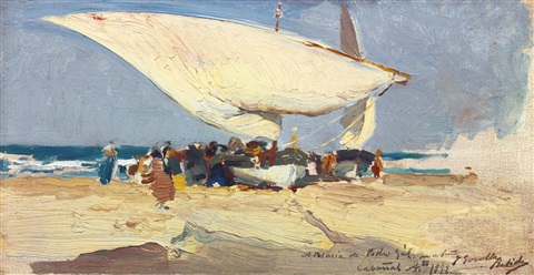la llegada de la pesca playa de valencia the return of the catch valencia beach by joaquin sorolla y bastida